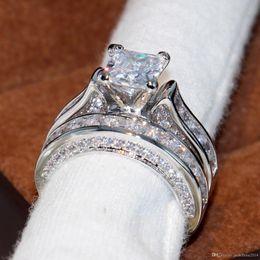 Conjunto de engajamento vintage on-line-Key4fashion Wieck Jóias Vintage 14KT Branco Cheio de Ouro Princesa Corte Quadrado Topázio CZ Diamante Mulheres Noivado De Casamento Anel De Noivado Set Presente