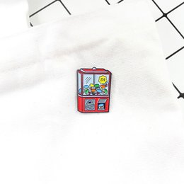 Rote knopfspiele online-Red Game Machine Brosche Grab Toy Game Machine Emaille Pin Für Kids Game Fans Button Badges