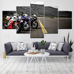 Motocicleta de pintura de carreras online-Arte de pared Motocicletas deportivas Cartel de carreras Marco de pintura de lona 5 piezas HD Imprimir Imágenes de autos deportivos para sala de estar Decoración del hogar