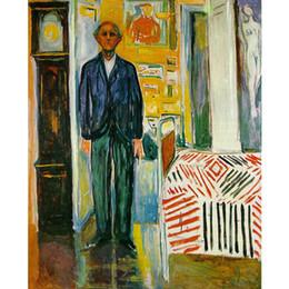 2019 pinturas abstratas retratos Pintados à mão Edvard Munch pinturas auto-retrato. Entre o relógio e a cama arte moderna pinturas abstratas decoração de parede desconto pinturas abstratas retratos