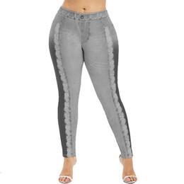 Pantalones vaqueros falsos online-Las mujeres falso Denim Jeans impresión de yoga pantalones polainas delgadas flacas pantalones grises de la danza de control de la panza del entrenamiento pantalones apretados