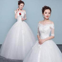 Bianco Vestido De Noiva 2019 Nuovo design Una linea perfetta cintura Robe De Mariage senza spalline Lace Up Abiti da sposa da