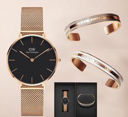 orologi giapponesi oro Sconti Top Luxury Dw Orologio al quarzo in oro rosa 40mm e 32mm Orologio al quarzo giapponese casual da uomo Maglia in acciaio con orologio sottile Ladies '