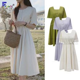 nette beiläufige kleidentwürfe Rabatt Vintage Nette Kleider Frau Sommer Kurzarm Fliege Schlanke Taille Eine Linie Casual Korean Style Japan Design Baumwollkleid 5623