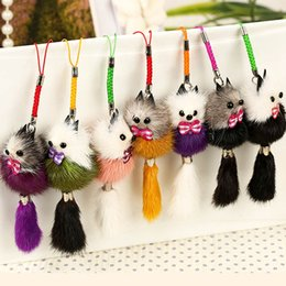 искусственное ювелирное кольцо Скидка New Cute Fluffy Bow-knot  Ball Key Chain Rings Pompom Artificial  Fur Charm Car Bag Key Ring Women Jewelry Color Random