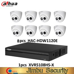 Grabadora de video dahua online-Dahua DVR kit 1pcs grabadora de video XVR5108HS-X de 8 canales Hasta 6MP H.265S y 8pcs HAC-HDW1120E Cámara HDCVI de 1MP IP67 con sistema cctv