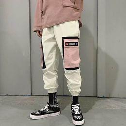 pantalones de pana Rebajas Pantalones de cadera Pantalones de cadera Bloque de color de la vendimia Pana Harem Pantalón de carga Pantalones cortos Pantalón de algodón Harreuku Harajuku Pantalones de chándal 2019