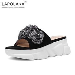 flores de tacones altos con marca Rebajas Lapolaka Brand New Big Size 33-40 Ladies High Heels Platform Kid Suede Flower Shoes Mujer Casual Fuera de verano Zapatillas