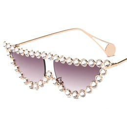 Katzenaugenrahmen rhinestones online-2019 mode diamant rahmen cat eye sonnenbrille frauen luxus vintage dreieck shades strass sonnenbrille für weibliche metall uv400