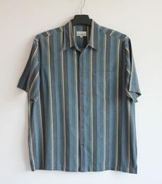 Erkekler Gömlek 2019 Ipek Çizgili Kısa Kollu Gömlek Gevşek Rahat Büyük Üst Mavi L Göğüs 126 cm cheap big silk shirts men nereden büyük ipek gömlek erkek tedarikçiler