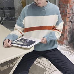 cucitura di maglione di lana Sconti Personalità maschile Inverno New Woolen M-XL Colore Matching Maglione Allentato Stitching Temperamento Girocollo Moda Casual Casual