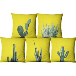 Almofadas amarelas on-line-Plantas suculentas Amarelo Almofada De Linho Cobre 45x45 Cactus Flower Pattern Verde Impresso Sofá Lance Fronha para o Carro Decoração Da Sua Casa