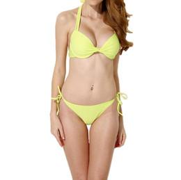 Pacific Beachwear 2019 Moda Donna Sexy Bikini Set Halter imbottito Push Up costume da bagno rosa / giallo GS024Y-S cheap fashion push up pink bikini da la moda spinge verso l'alto il bikini rosa fornitori