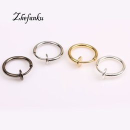 lip piercing hoops Promo Codes - 1Pcs 13mm Fashion Punk Clip On Fake Piercing Nose Lip Hoop Rings Earrings 4 Colors Drop Shipping