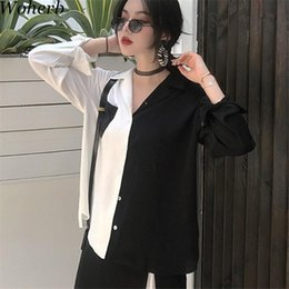 2019 camicetta superiore delle donne coreane delle signore Coreano 2019 Estate Harajuku Donna Top Contrasto camicette Nero Bianco patchwork camicia elegante signora Top Chic Blusas 74820 camicetta superiore delle donne coreane delle signore economici