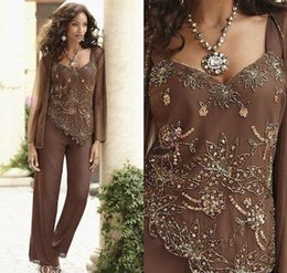 sequined beaded mother bride Coupons - Sequin Beaded Mother Of The Bride Pant Suits With Jackets Chiffon Formal Evening Dresses Long Sleeves Prom Gowns Plus Size