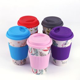 c38cd43d4b3d 6 Style Eco-friendly Bamboo Fiber Coffee Cup with Reusable Silicone Lid and  Sleeve Drinks Cup Travel Gift wholesale LX1273