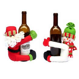 garrafas de vinho artesanal por atacado Desconto Atacado- 2016 Natal bonito dos desenhos animados Papai Noel Red Wine Bottle Holders Cover Bags Christmas Festival Dinner Table Decoration Crafts