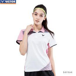 victor badminton camisas Desconto Victor Quick Dry Badminton Camisas Para Senhoras T-shirt de Manga Curta de Tênis Mulheres Esporte Roupas Sportswear