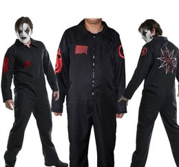 black music dress Promo Codes - SlipKnot Theme Costume Halloween Party Dress Digital Printed Long Sleeved Black Uniforms Movie Stars