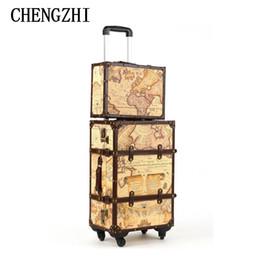 """Lederkarten online-CHENGZHI 20 """"24"""" 26 """"Karte Maleta Vintage Rollkoffer Spinner Leder Koffers Trolley Gepäck für die Reise"""