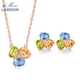 Ensemble bijoux en topaze jaune en Ligne-Lamoon pierre naturelle 3TC ovale jaune Citrine vert péridot Bleu Topaze 925 Set-bijoux en argent sterling Bijoux V003-6