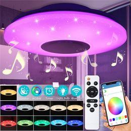 plafonniers modernes led Promotion WiFi lampe de plafond avec Bluetooth Haut-parleur, peut être obscurci, Multicolor, APP de contrôle de la télécommande, 60W intelligente Ceiling Light (WiFi + Bluetooth Haut-parleur