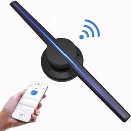 Ha portato il ventilatore pubblicitario online-NUOVO POV personalizzato WIFI APP 42cm 65CM 85CM 100CM Spinning 3D ologramma olografico indoor LED pubblicità fan 4 pale proiettore di display ad aria