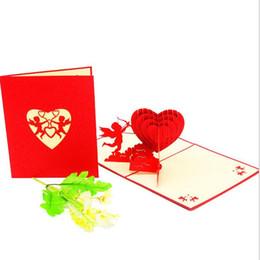 Cartoline d'auguri pieghevoli di carta tagliata pop-up 3D di moda Cartoline fatte a mano creative di amore Cupido Amore Regalo di Natale di nozze di San Valentino da farfalle di inviti fornitori