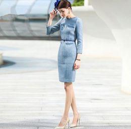 Oficina formal vestidos de invierno online-Desgaste delgado Primavera Otoño Invierno vestido de las mujeres traje de las mujeres de negocios formal Oficina de Trabajo Ropa de Señora Vestido lápiz de la vendimia