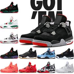 purchase cheap f3732 21406 Nike Air Jordan Retro 4s Männer Basketball-Schuhe 4 Zucht NRG Schwarz Weiß  Laser Gum Pale Citron Heißer Schlag Reines Geld Mens Trainer Sport Sneaker  Größe ...