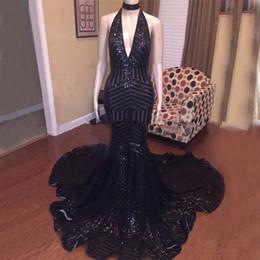 2019 abito da sera nero di gala Vestito da sera sexy con paillettes a sirena con paillettes e vestidos di gala abito da sera nero di gala economici