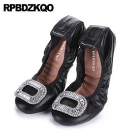 sapatas do ballet do diamante Desconto Apartamentos mocassins de diamante mulheres strass dedo do pé quadrado sapatos de balé de casamento italiano tamanho 43 preto 10 11 ballerina cristal grande