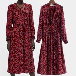 2019 vestido de lã de lã vermelho longo Vestido de tempo de lazer de impressão de impressão de leopardo vermelho manga longa desconto vestido de lã de lã vermelho longo
