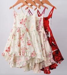 Singlet dress en Ligne-Girl Flower Dress Vêtements Enfant Mode Imprimé Beach Party Dress Eté Bébé Sans manches Singlet Backless Dress