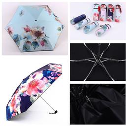 Parapluie ombre légère fois en Ligne-Impression Ombrage Extérieur Portable Ultra Léger Cinq Parapluie Parapluie Protection UV Parapluie Imperméable Fleur Parapluie Impression DH0880 T03