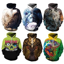 Rey león sudadera con capucha online-Youthcare Hoodie para hombres y mujeres Impreso en 3D King Lion Skulls Hoodie Oversize Pullover Tops de manga larga Suéter QYDM-4261