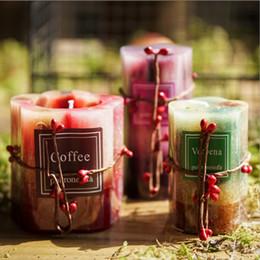 candela elettronica principale di plastica Sconti Candela di Aromatherapy Wedding Day di Natale senza fumo del tè della candela Romantic Flower Decorative Petalo Natural Soy candela di cera di San Valentino