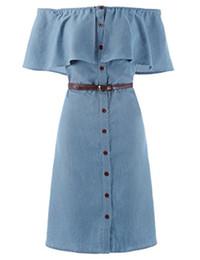 Off vestido de denim ombro on-line-Kate kasin mulheres fora do ombro botão até camisas jeans vestidos com cinto