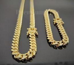Enlace cubano de oro de 14k para hombre. online-Cadena de pulsera de eslabones cubanos para hombre de 8 mm de Miami CONJUNTO Acero inoxidable chapado en oro de 14 k