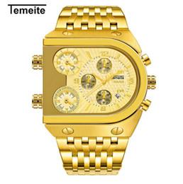 Топ мода мужская 3 Times Zone Дизайн Кварцевые Часы Мужчины Военные Бизнес Наручные Часы Роскошные Золотые мужские Квадратные Часы Из Нержавеющей Стали от