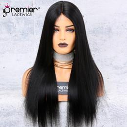 peluca base brasileña base de seda Rebajas Base de seda Pelucas delanteras del cordón Parte media Yaki Recta 150% Densidad 100 Pelucas de cabello Remy brasileño