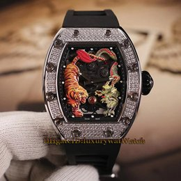 Relógio diamante japão on-line-Nova Jackie Chan RM 51-01 Dragão tigre Esqueleto Dial Japão Miyota Automático Mecânico RM50-01 Mens Watch Diamond Caso Prata Relógios De Borracha