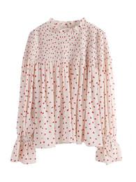 Argentina 3 colores disponibles las fotos más nuevas del diseño Blusa de gasa dulce con encaje con volantes cuello de la camisa de las mujeres con mangas de flare estilo lindo Suministro