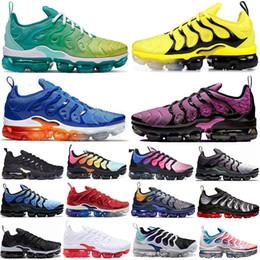 zapatos de color verde brillante Rebajas Cheaper New Bumblebee Sunset Green TN Plus Zapatos para correr para hombre mujer Rainbow GRAPE Bright Carmesí se desvanece Hyper Volt Mens Trainers Sneaker