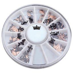 Искусство чёрного металла онлайн-100pcs 3D Metal Nail Art Slice Black Stickers Decal Foil Wheel Nail Tool Art Decal Foils Decoration Women  Water