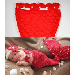 traje de sirena de invierno Rebajas Fotografía Propsclothes equipo del traje de la sirena de ropa linda niño recién nacido del muchacho del bebé de los niños determinados Rojo Traje de lana caliente del invierno