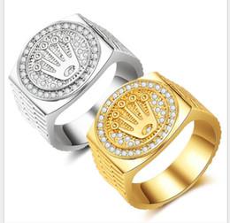impostazioni del diamante rotondo Sconti Anello Hip-hop con diamanti dorati per uomo e donna