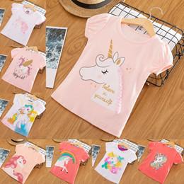 Ребёнки Unicorn T-Shirt Solid мультфильм с коротким рукавом Письмо Tops Дети Дизайнер одежды девочки девушка дизайнер детской одежды Одежда 2-6T 07 от Поставщики волчьи снежные мультфильмы