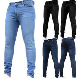 Jeans ebene online-Basic Style Herren Stretchy Ripped Skinny Biker Jeans geklebt schlanke einfarbige Denimhose Normale Denimjeans
